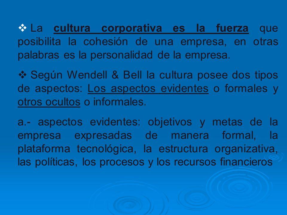 La cultura corporativa es la fuerza que posibilita la cohesión de una empresa, en otras palabras es la personalidad de la empresa.