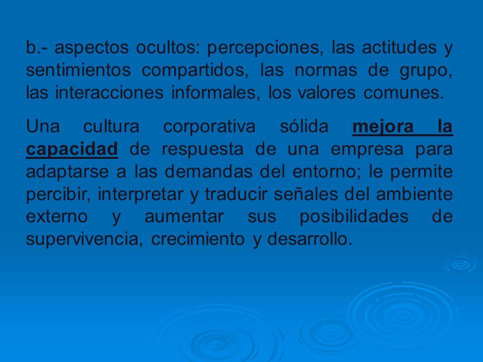 b.- aspectos ocultos: percepciones, las actitudes y sentimientos compartidos, las normas de grupo, las interacciones informales, los valores comunes.