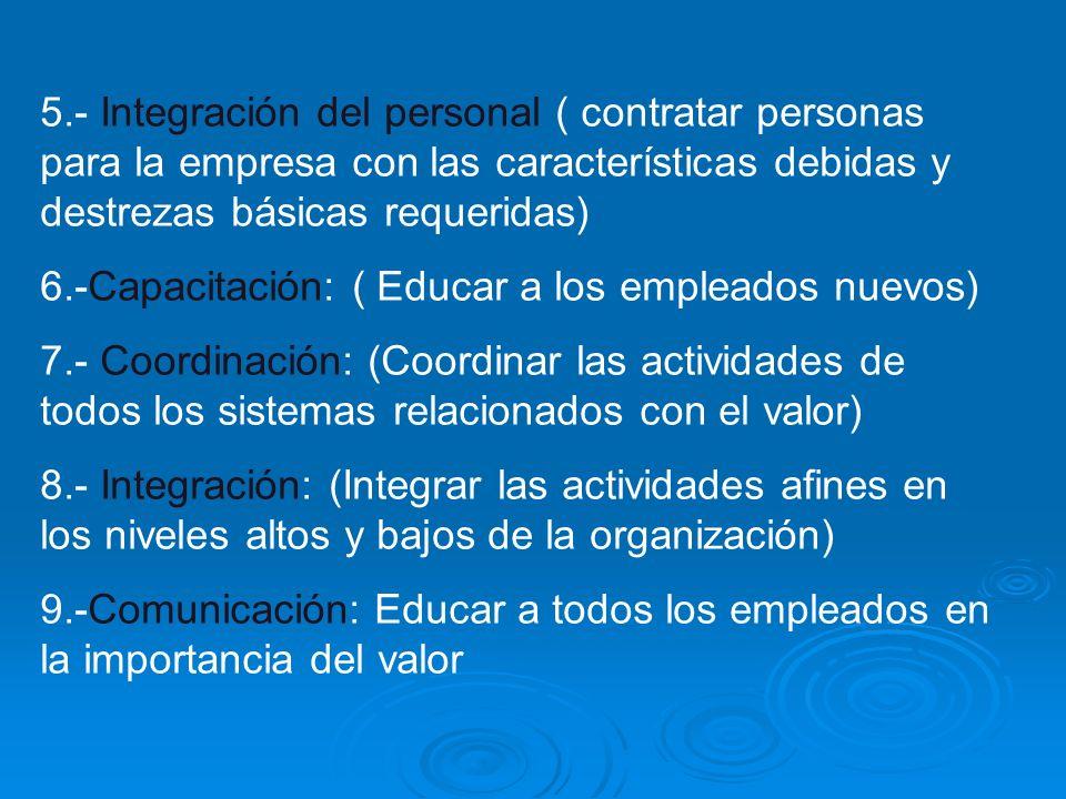 5.- Integración del personal ( contratar personas para la empresa con las características debidas y destrezas básicas requeridas)