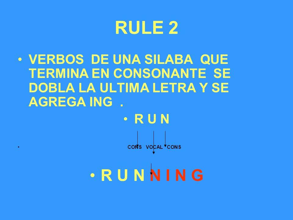 RULE 2 VERBOS DE UNA SILABA QUE TERMINA EN CONSONANTE SE DOBLA LA ULTIMA LETRA Y SE AGREGA ING .