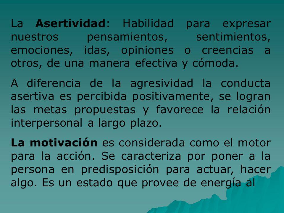 La Asertividad: Habilidad para expresar nuestros pensamientos, sentimientos, emociones, idas, opiniones o creencias a otros, de una manera efectiva y cómoda.