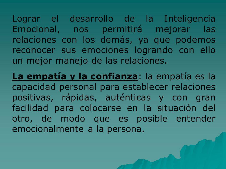 Lograr el desarrollo de la Inteligencia Emocional, nos permitirá mejorar las relaciones con los demás, ya que podemos reconocer sus emociones logrando con ello un mejor manejo de las relaciones.