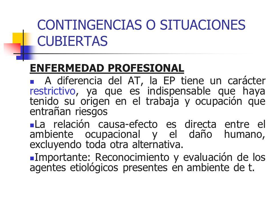 CONTINGENCIAS O SITUACIONES CUBIERTAS