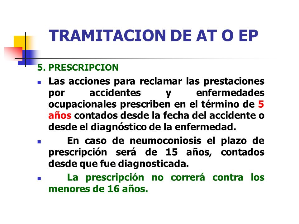 TRAMITACION DE AT O EP 5. PRESCRIPCION.