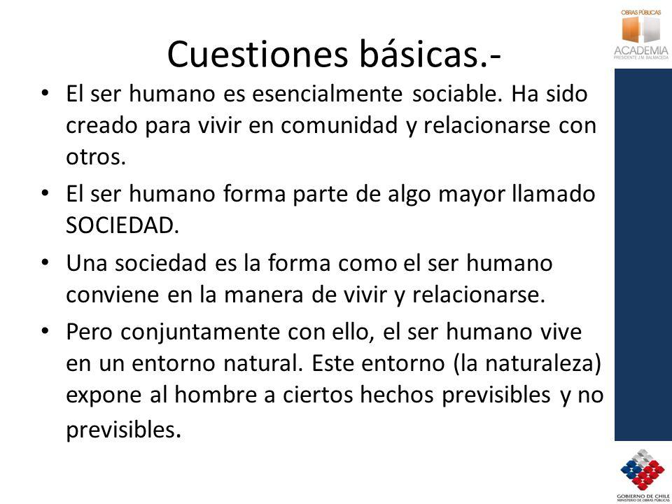 Cuestiones básicas.- El ser humano es esencialmente sociable. Ha sido creado para vivir en comunidad y relacionarse con otros.