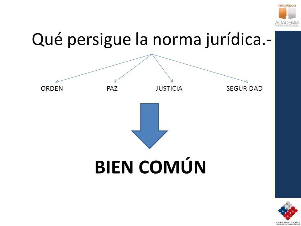 Qué persigue la norma jurídica.-