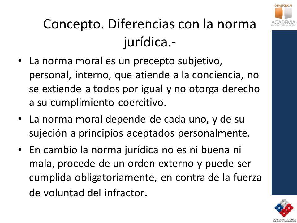 Concepto. Diferencias con la norma jurídica.-