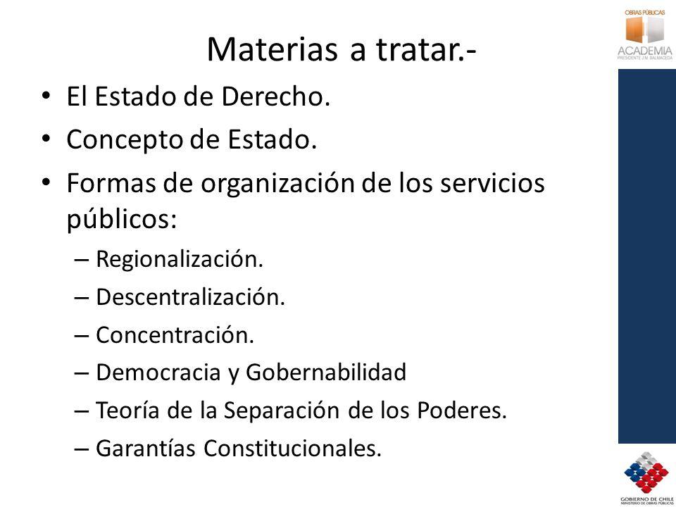 Materias a tratar.- El Estado de Derecho. Concepto de Estado.