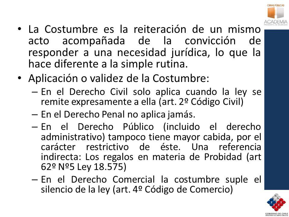 Aplicación o validez de la Costumbre: