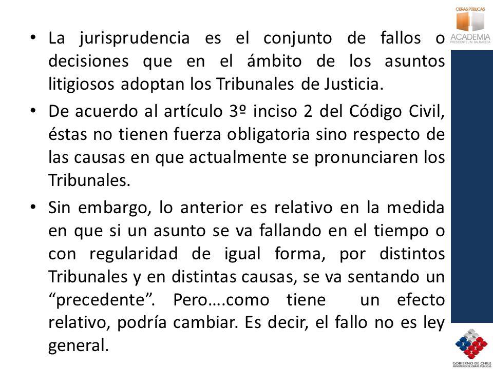 La jurisprudencia es el conjunto de fallos o decisiones que en el ámbito de los asuntos litigiosos adoptan los Tribunales de Justicia.