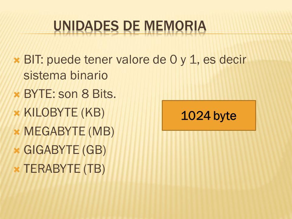 Unidades de memoriaBIT: puede tener valore de 0 y 1, es decir sistema binario. BYTE: son 8 Bits. KILOBYTE (KB)