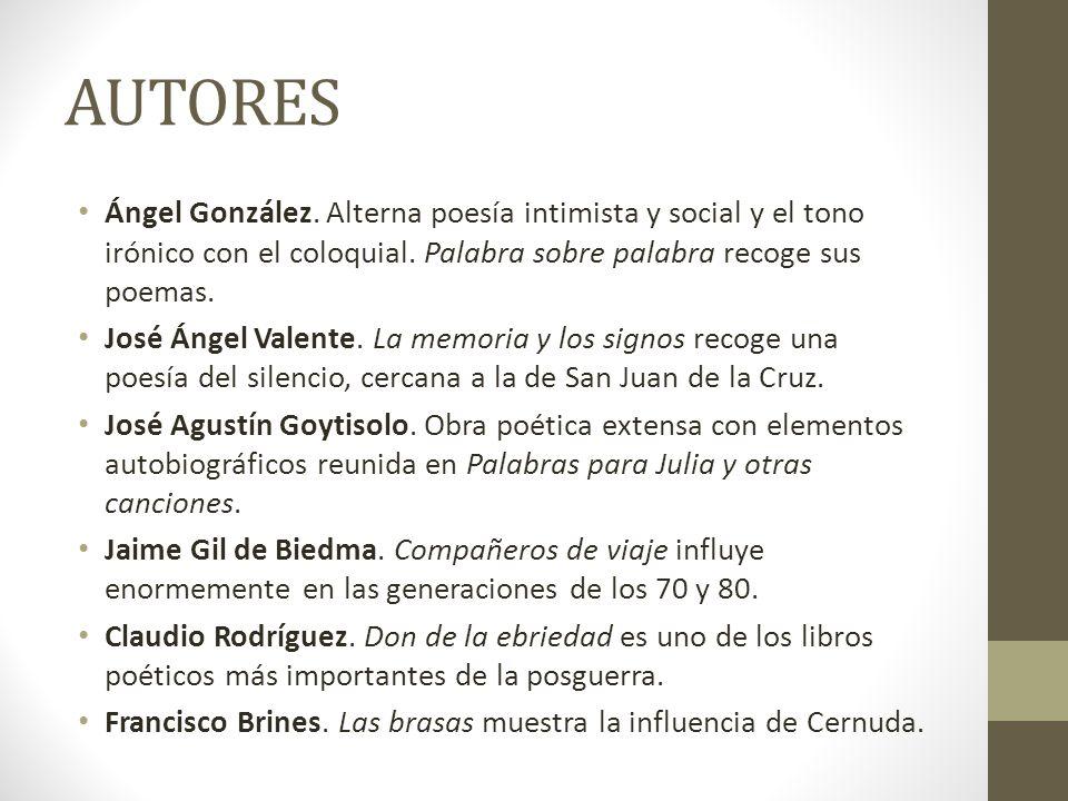 AUTORES Ángel González. Alterna poesía intimista y social y el tono irónico con el coloquial. Palabra sobre palabra recoge sus poemas.