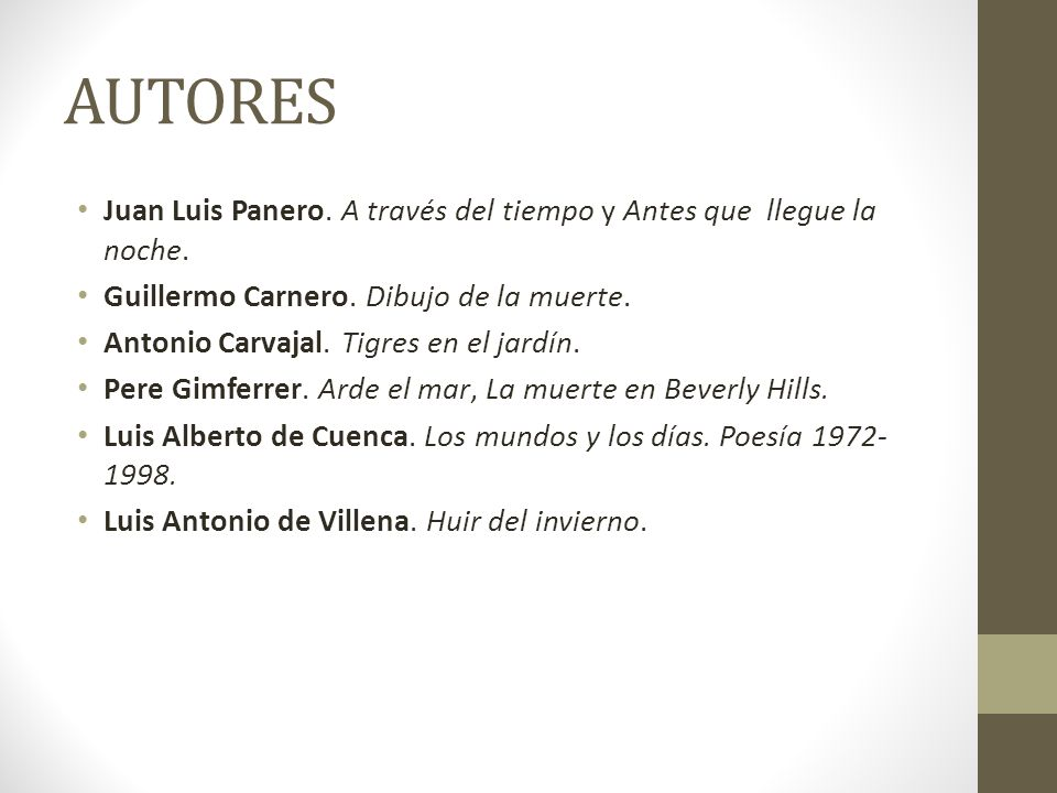 AUTORES Juan Luis Panero. A través del tiempo y Antes que llegue la noche. Guillermo Carnero. Dibujo de la muerte.