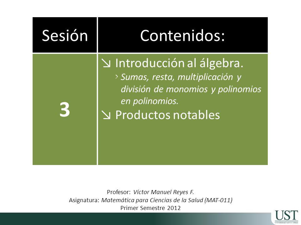 3 Sesión Contenidos: Introducción al álgebra. Productos notables