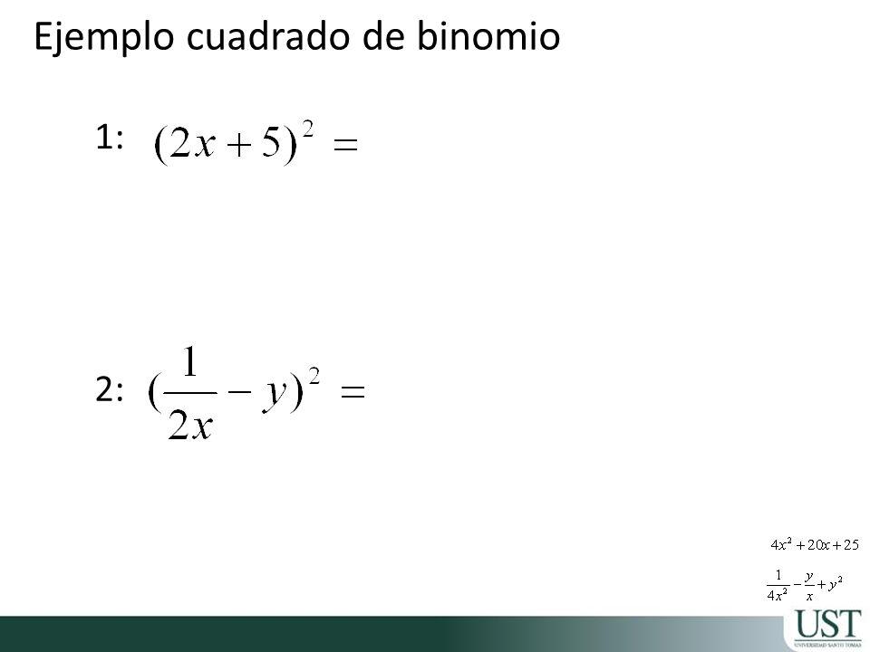 Ejemplo cuadrado de binomio