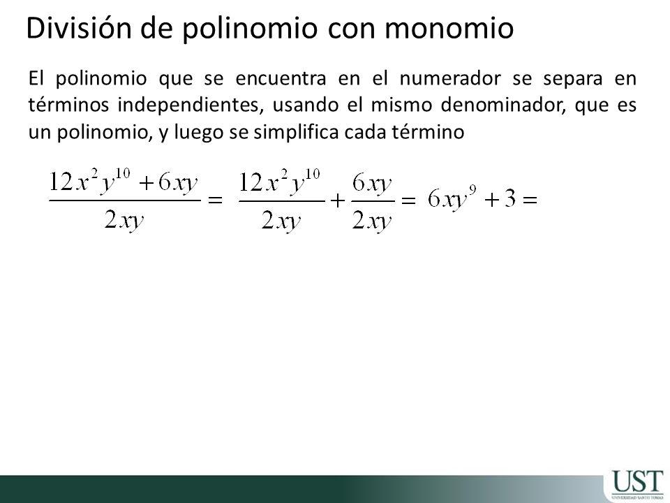 División de polinomio con monomio