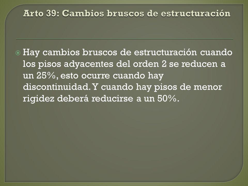 Arto 39: Cambios bruscos de estructuración