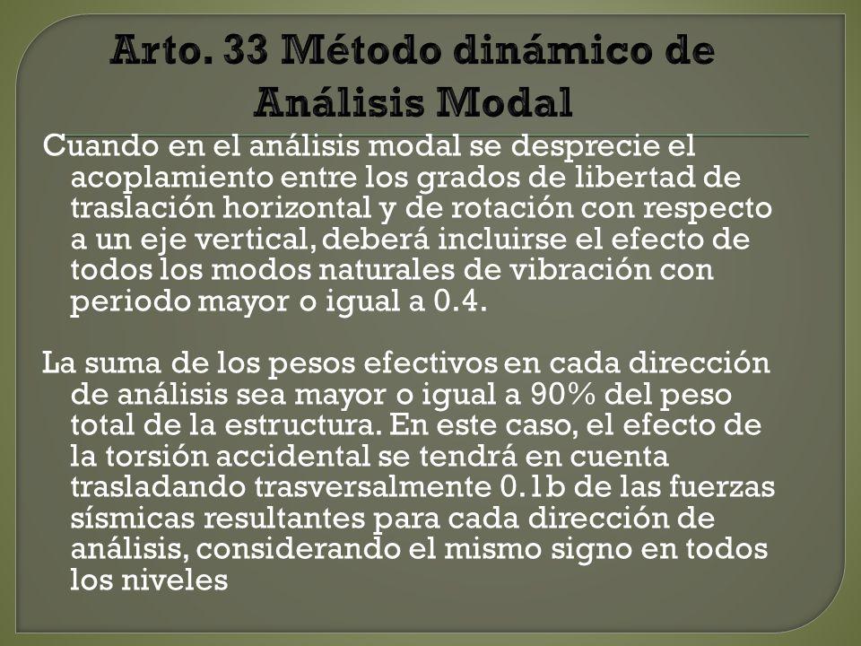 Arto. 33 Método dinámico de Análisis Modal
