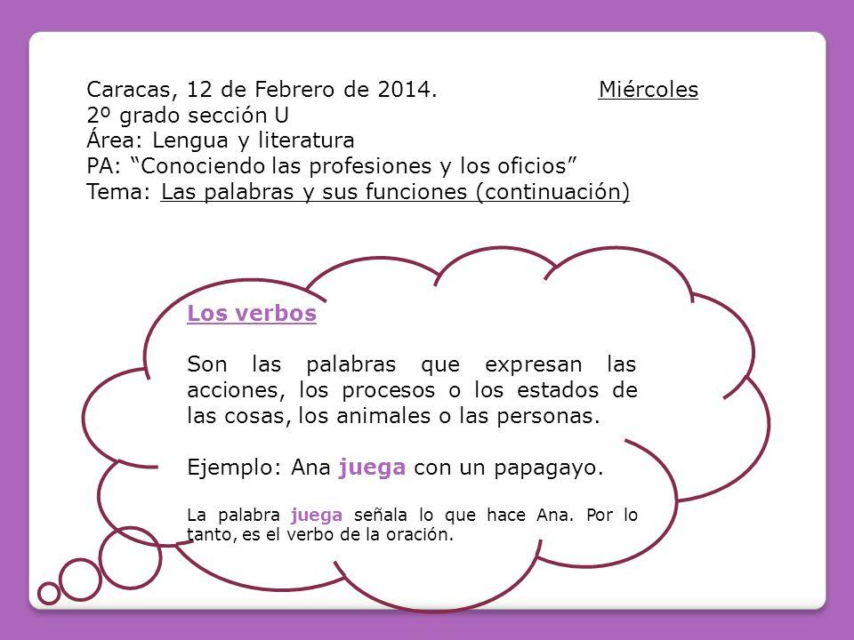 Caracas, 12 de Febrero de 2014. Miércoles 2º grado sección U