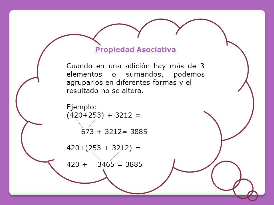 Propiedad Asociativa Cuando en una adición hay más de 3 elementos o sumandos, podemos agruparlos en diferentes formas y el.