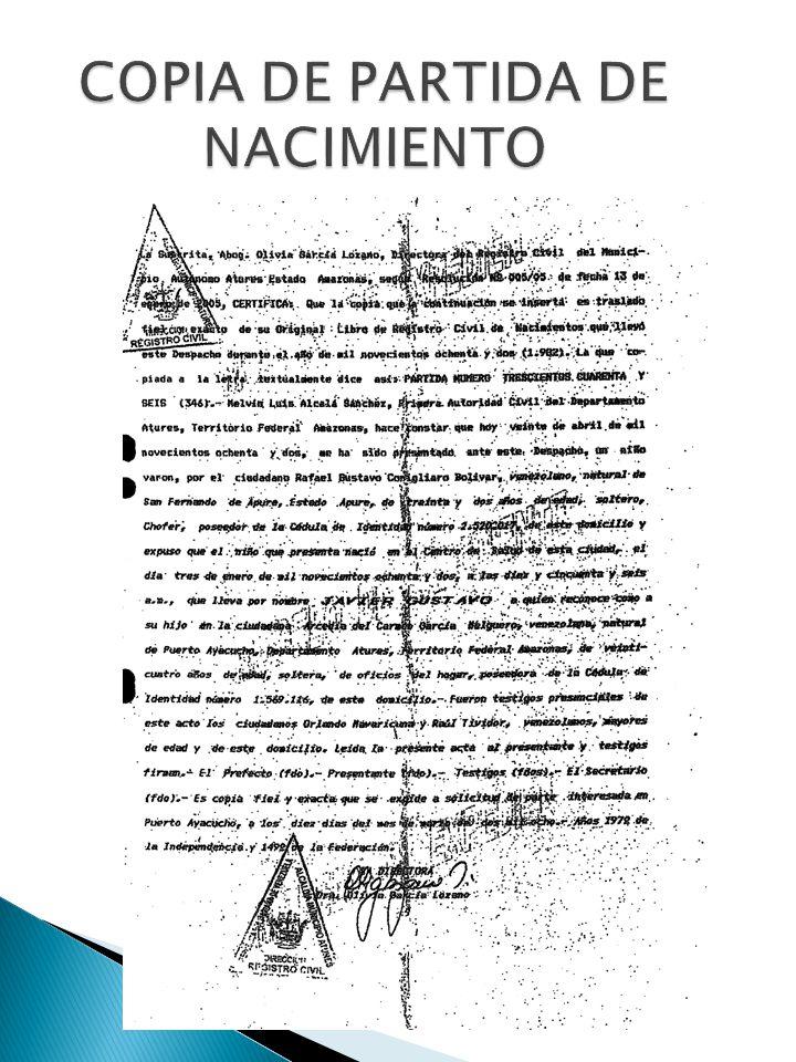 COPIA DE PARTIDA DE NACIMIENTO