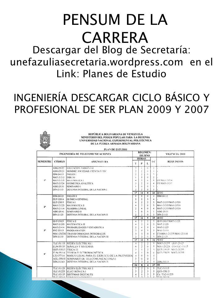 PENSUM DE LA CARRERA Descargar del Blog de Secretaría: unefazuliasecretaria.wordpress.com en el Link: Planes de Estudio.