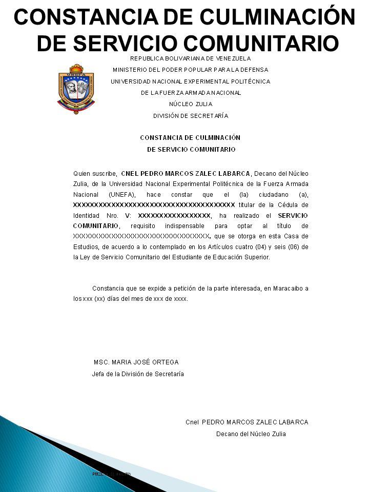 DE SERVICIO COMUNITARIO