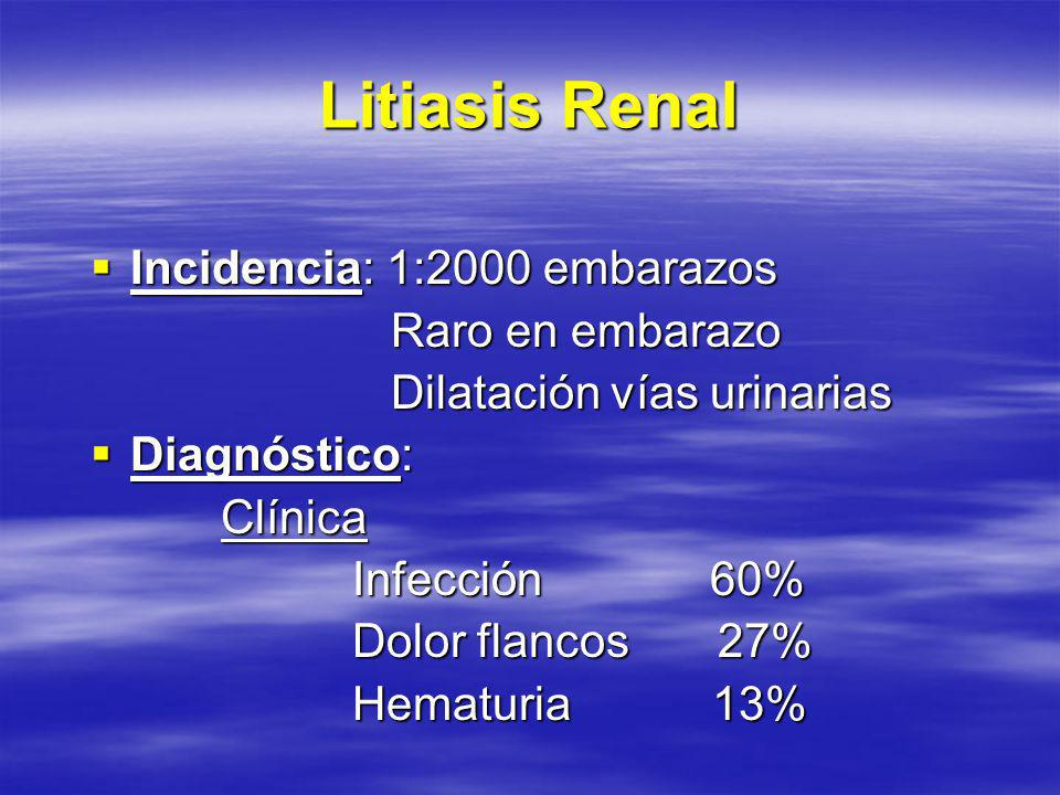 Litiasis Renal Incidencia: 1:2000 embarazos Raro en embarazo