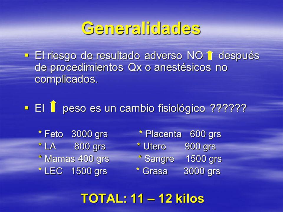 Generalidades El riesgo de resultado adverso NO después de procedimientos Qx o anestésicos no complicados.