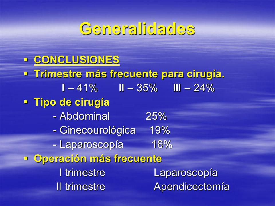 Generalidades CONCLUSIONES Trimestre más frecuente para cirugía.