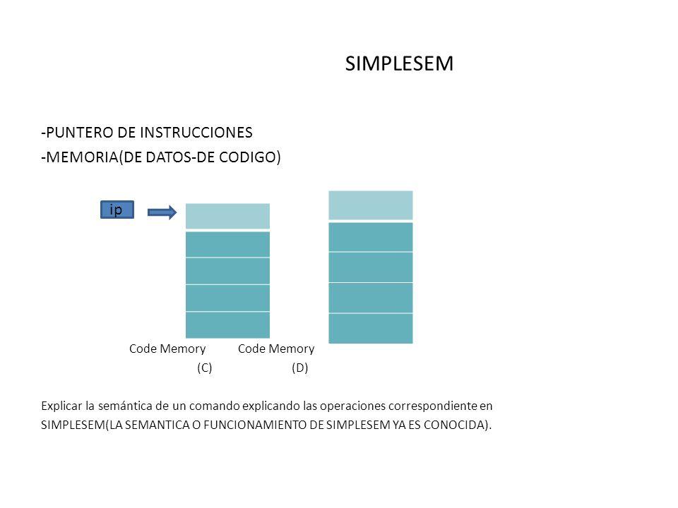 SIMPLESEM -PUNTERO DE INSTRUCCIONES -MEMORIA(DE DATOS-DE CODIGO) ip