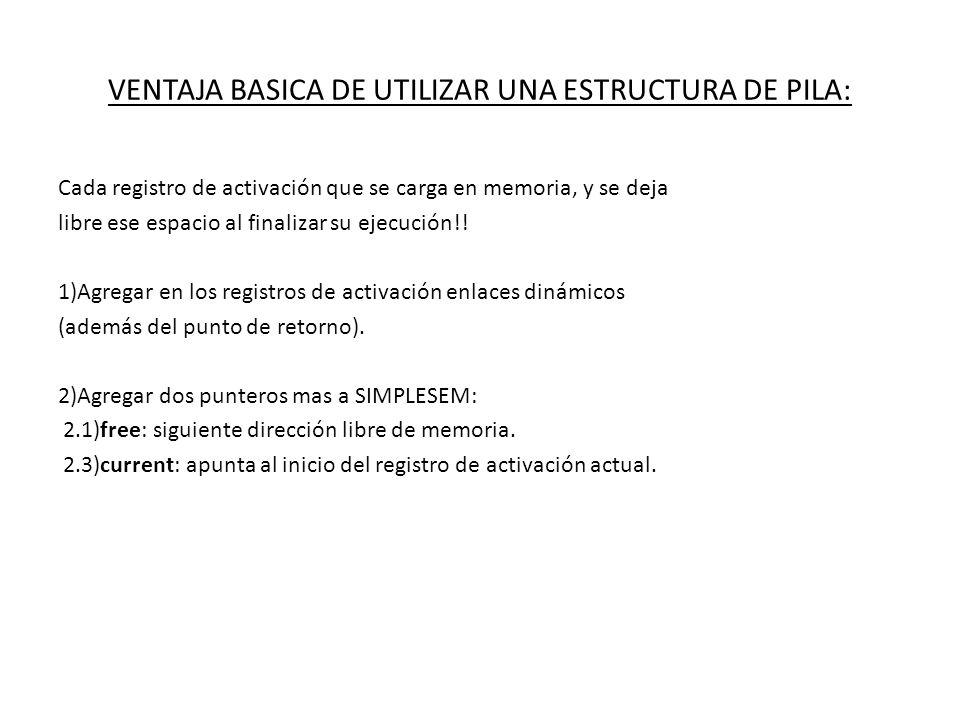 VENTAJA BASICA DE UTILIZAR UNA ESTRUCTURA DE PILA: