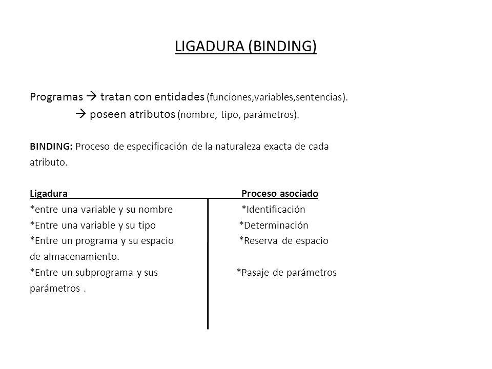 LIGADURA (BINDING) Programas  tratan con entidades (funciones,variables,sentencias).  poseen atributos (nombre, tipo, parámetros).