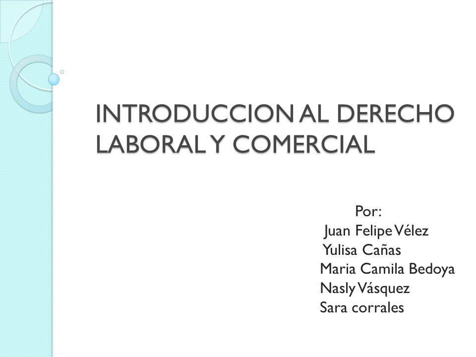 INTRODUCCION AL DERECHO LABORAL Y COMERCIAL