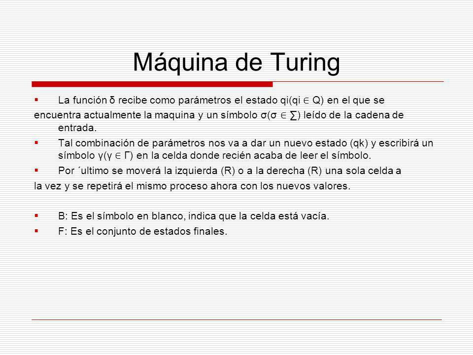 Máquina de Turing La función δ recibe como parámetros el estado qi(qi ∈ Q) en el que se.