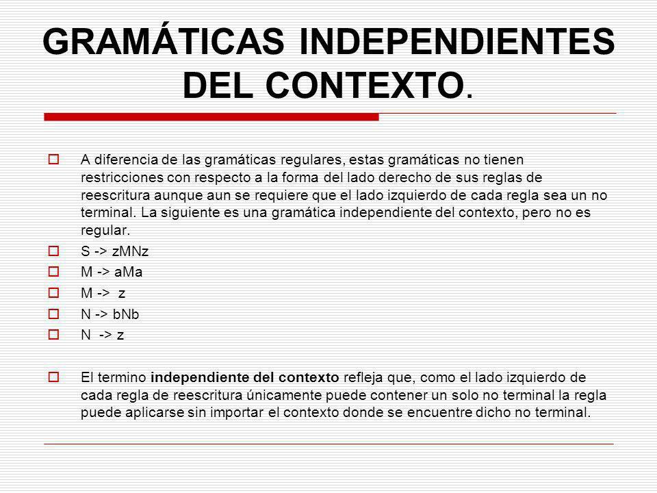 GRAMÁTICAS INDEPENDIENTES DEL CONTEXTO.
