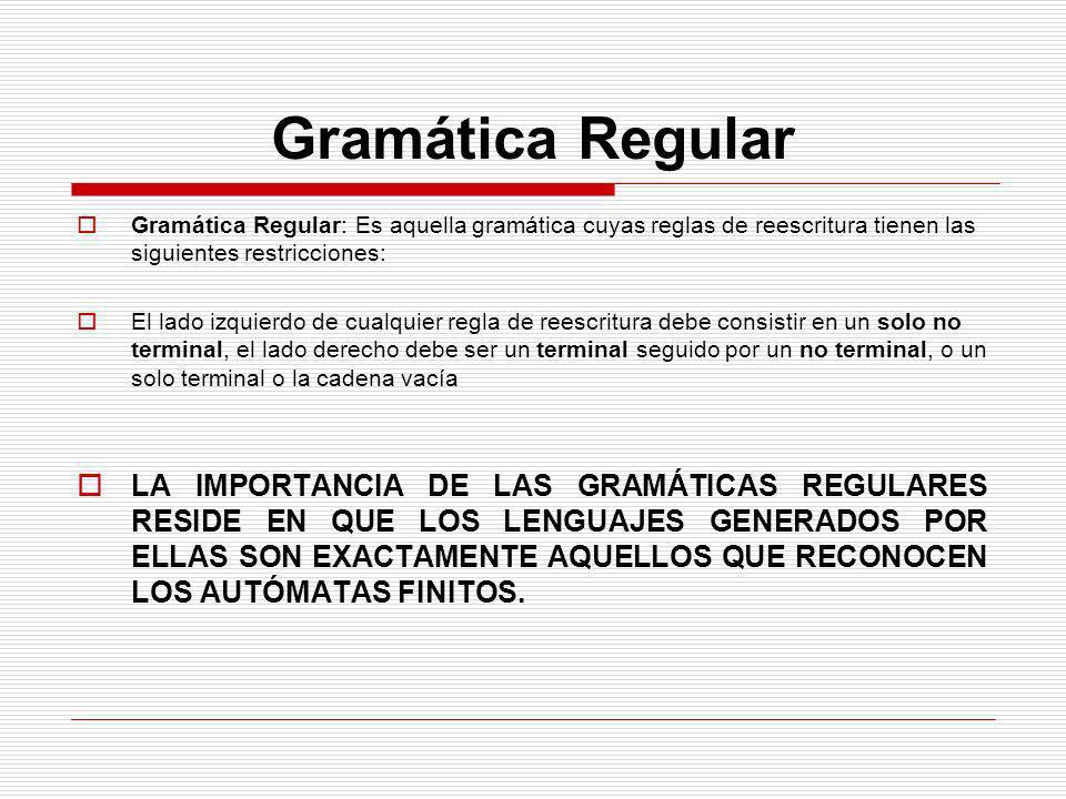 Gramática Regular Gramática Regular: Es aquella gramática cuyas reglas de reescritura tienen las siguientes restricciones: