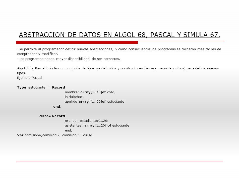 ABSTRACCION DE DATOS EN ALGOL 68, PASCAL Y SIMULA 67.