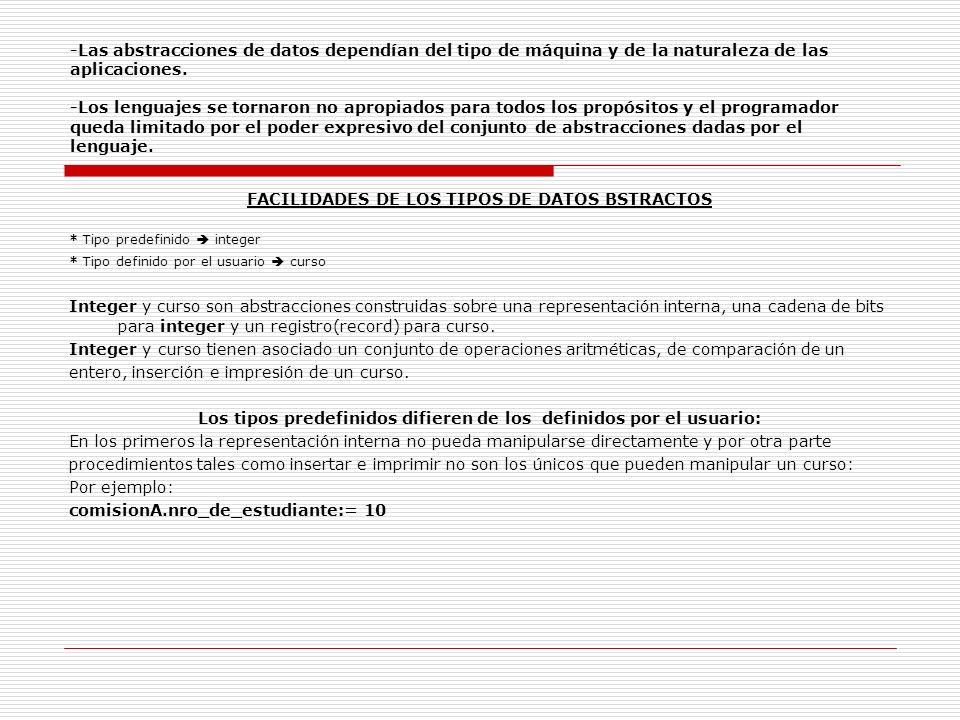 FACILIDADES DE LOS TIPOS DE DATOS BSTRACTOS