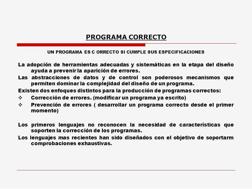 UN PROGRAMA ES C ORRECTO SI CUMPLE SUS ESPECIFICACIONES