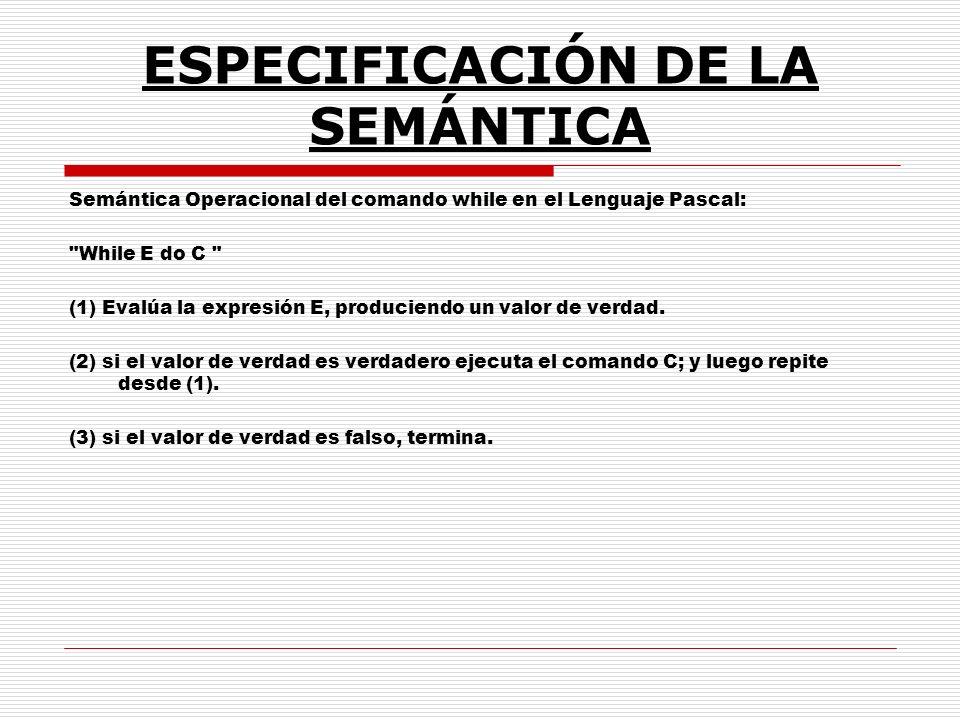ESPECIFICACIÓN DE LA SEMÁNTICA