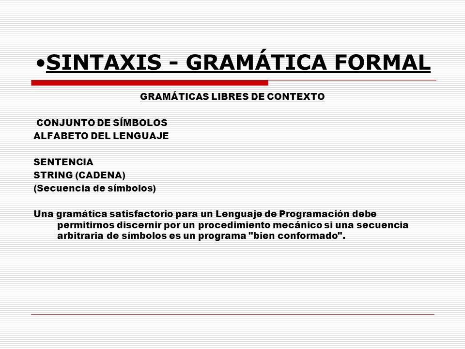 SINTAXIS - GRAMÁTICA FORMAL
