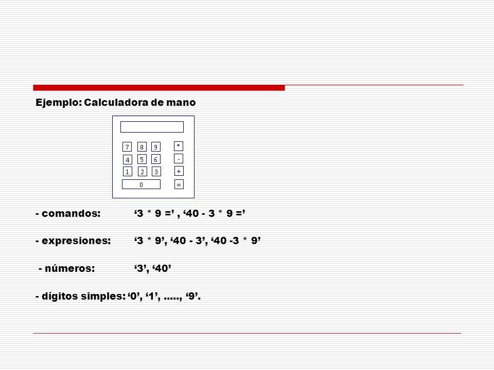 Ejemplo: Calculadora de mano - comandos: '3. 9 =' , '40 - 3