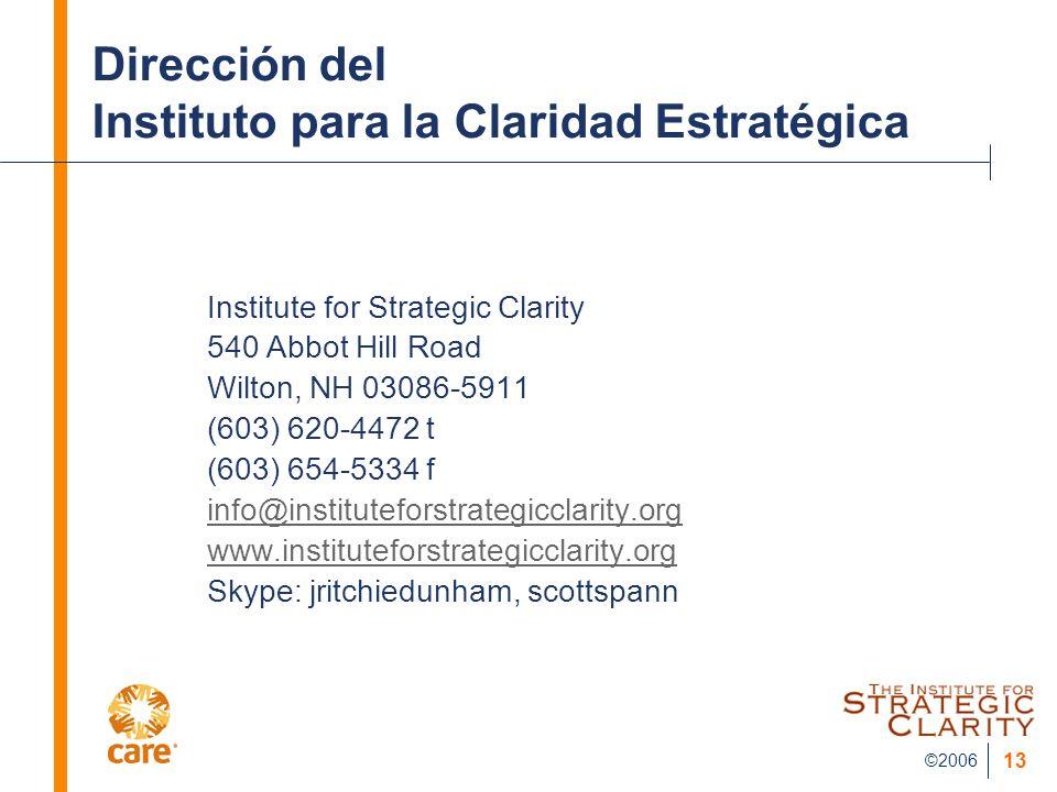 Dirección del Instituto para la Claridad Estratégica