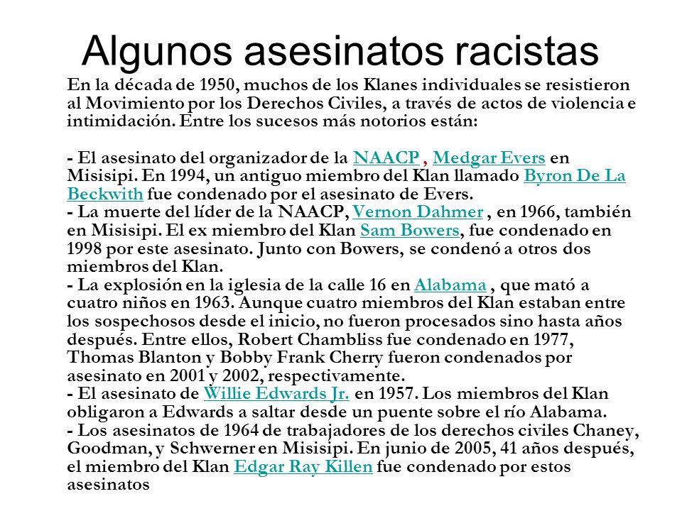 Algunos asesinatos racistas