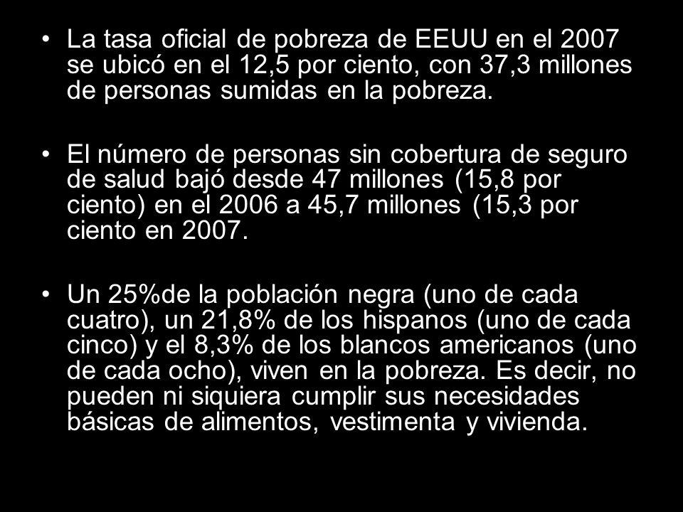 La tasa oficial de pobreza de EEUU en el 2007 se ubicó en el 12,5 por ciento, con 37,3 millones de personas sumidas en la pobreza.