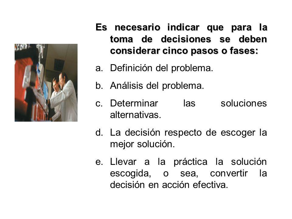 Es necesario indicar que para la toma de decisiones se deben considerar cinco pasos o fases: