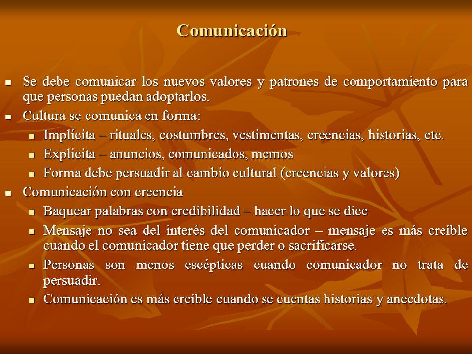 ComunicaciónSe debe comunicar los nuevos valores y patrones de comportamiento para que personas puedan adoptarlos.