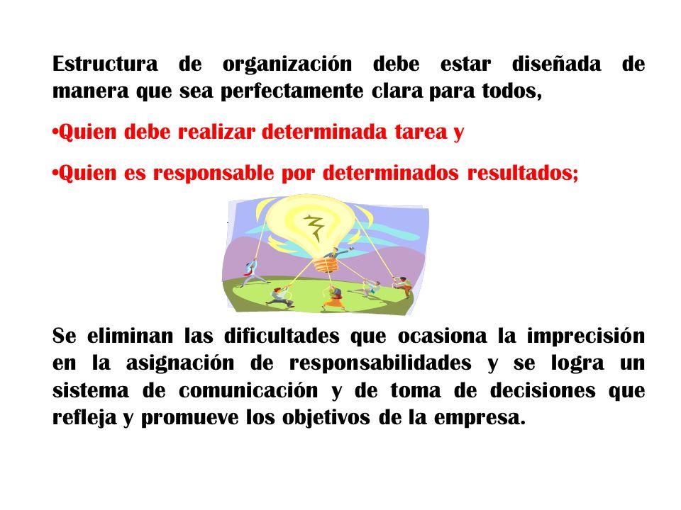 Estructura de organización debe estar diseñada de manera que sea perfectamente clara para todos,