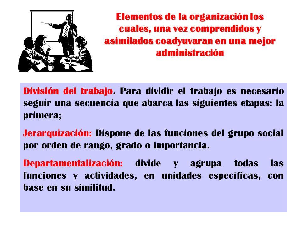 Elementos de la organización los cuales, una vez comprendidos y asimilados coadyuvaran en una mejor administración